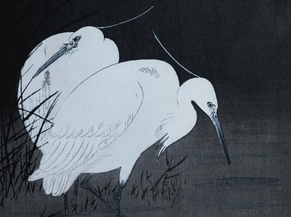 Egrets Woodblock Print