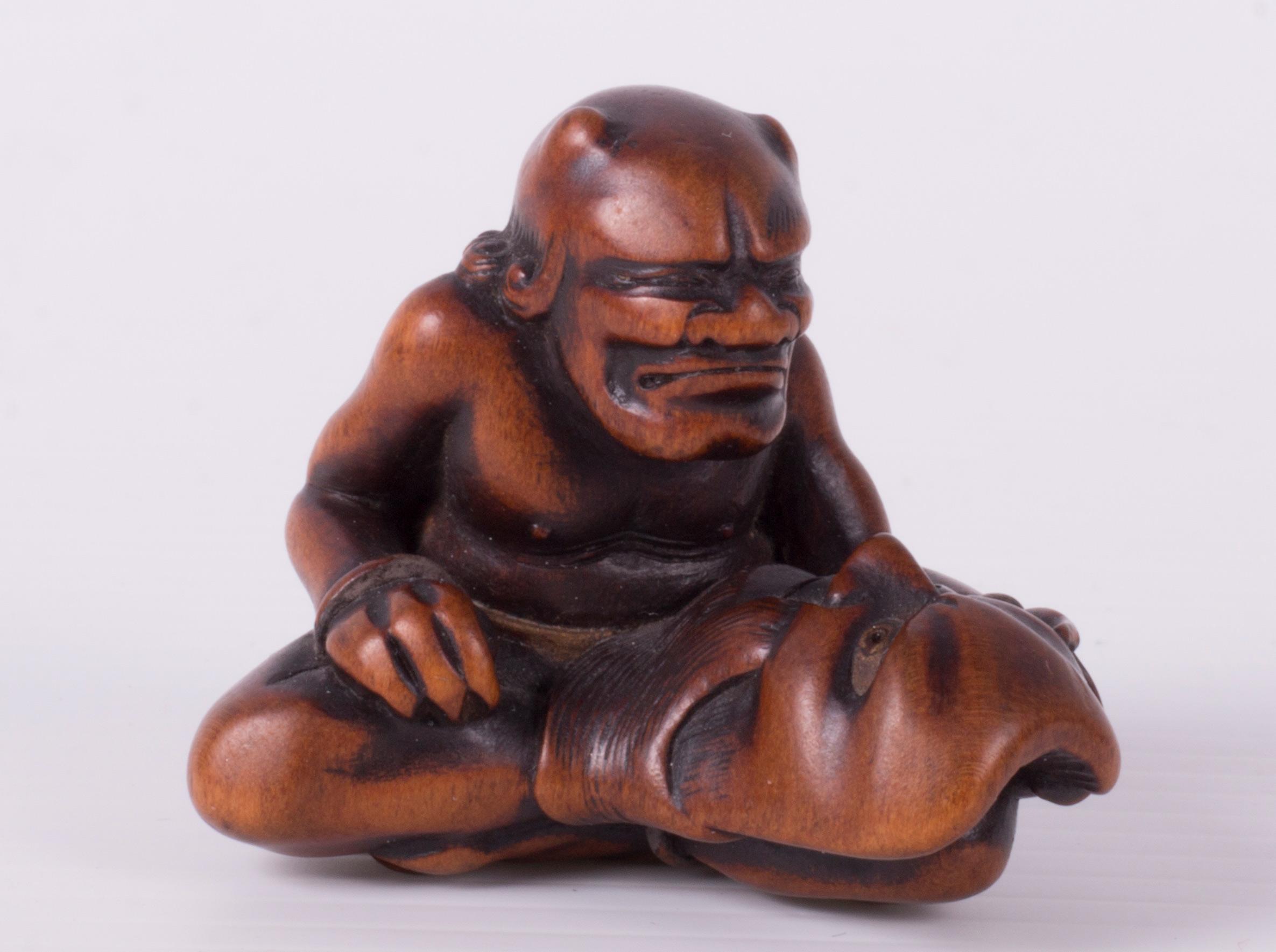 Mask-Carver Oni Netsuke