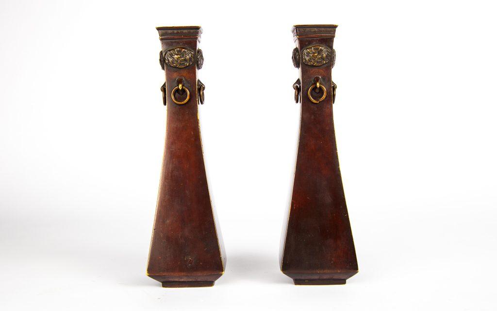 Japanese bronze vase couple